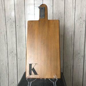 "Pottery Barn Mango Wood Cutting Cheese Board ""K"""